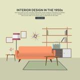 Flat retro interior living room. Royalty Free Stock Image