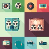 10 flat retro media flat square icons with long shadows. Set of colorful detailed and realistic flat design style icons Stock Photography