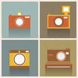 Flat Retro Photo Cameras. Abstract Background Stock Photography