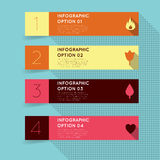 Flat retro vintage infographics. Simple modern flat retro vintage infographics options banner. Vector illustration with long shadow Royalty Free Stock Image