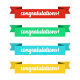 Flat ribbons banners with congratulations. Ribbons in flat design. Vector set of colorful ribbons Royalty Free Stock Images