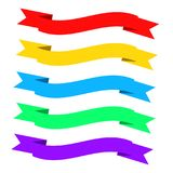 Flat ribbons banners. Ribbons in flat design. Vector set of colo. Rful ribbons, eps 10 Stock Images