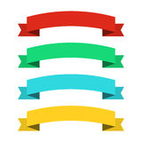 Flat ribbons banners. Ribbons in flat design. Vector set of colorful ribbons Stock Image