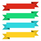 Flat ribbons banners. Ribbons in flat design. Vector set of colorful ribbons Stock Photos