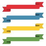 Flat ribbons banners. Ribbons in flat design. Vector set of colorful ribbons Royalty Free Stock Photo