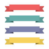 Flat ribbons banners. Ribbons in flat design. Vector set of colorful ribbons Royalty Free Stock Image