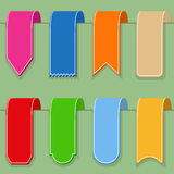 Flat Ribbons. Colored ribbons (or bookmarks), flat design Royalty Free Stock Images