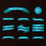 Flat ribbons vector set in blue colors. Perfect for invitations and other design Vector Illustration