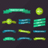 Flat ribbons vector set in blue, turquoise green and yellow green colors Royalty Free Stock Photos