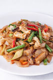 Flat rice noodle stir fried withseafood. Royalty Free Stock Photos