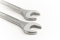 Flat ring spanner. Chromed flat ring spanner with open end stock image