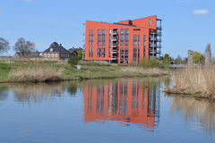 Flat at River Oude IJssel Royalty Free Stock Photos