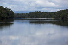 Flat River With Clouds Reflection In The Water, Venezuela Royalty Free Stock Photo