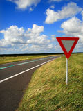 Flat road. Traffic signs on a netherlands road Royalty Free Stock Photos