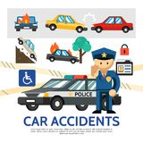 Flat Road Accident Template Royalty Free Stock Photos