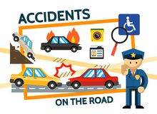 Flat Road Accidents Composition Royalty Free Stock Photo