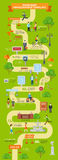 Flat ROAD MAP infographics pointer people vector illustration