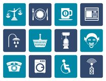 Flat Roadside, hotel and motel services icons. Vector icon set Stock Images