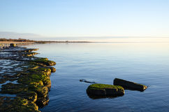 Flat rock coast with calm water Royalty Free Stock Photography