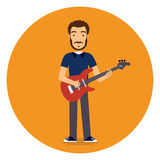 Flat Rock Musician with Guitar Stock Image