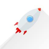Flat rocket flying isolated over white Royalty Free Stock Photos