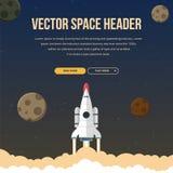 Flat rocket header background image. Royalty Free Stock Image
