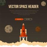 Flat rocket header background image. Royalty Free Stock Photography