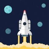 Flat rocket header background image. Royalty Free Stock Images