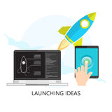 Flat rocket icon. Startup concept. Project development. Modern l Stock Photos