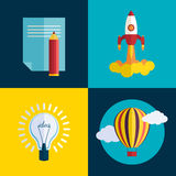 Flat rocket start up concept. Vector new business startup concept Royalty Free Stock Images