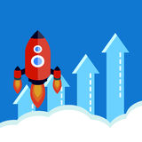 Flat rocket.Startup concept Stock Images