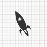 Flat rocketship icon. On a copybook illustration Stock Photography