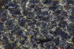 Flat rocks laying on the ocean floor under rippling water stock images