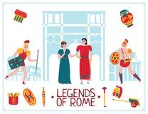 Flat Rome Legends Background Royalty Free Illustration