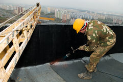 Flat roof covering works Stock Images