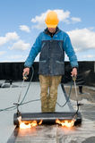 Flat roof covering works Stock Photo