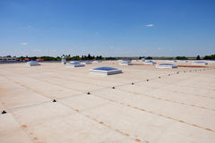 Flat roof on industrial hall Royalty Free Stock Image