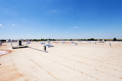 Flat roof on industrial hall Stock Photo