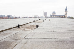 Flat roof with roofing. An flat roof with roofing and Safety line royalty free stock photos