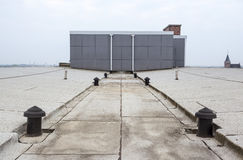 Flat roof with roofing. An flat roof with roofing and Safety line royalty free stock images