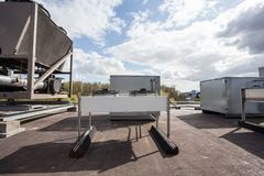 Cooling air conditioning. On an flat roof there cooling air conditioning Stock Photo