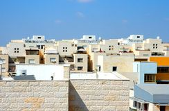 Flat roofs of new yellow apartment buildings Royalty Free Stock Image