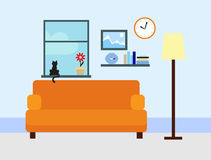 Flat room. Sitting room in flat style Stock Images