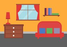 Flat room with sofa, bookshelf. And window Stock Photo