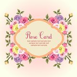 Flat rose card Royalty Free Stock Photography
