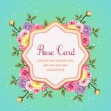 Flat rose octagon card Stock Image