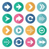 Flat and round arrow icons Stock Photos
