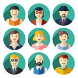 Flat round avatar icons, faces, people icons Stock Photo