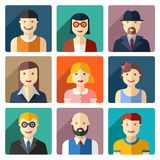 Flat round avatar icons, faces, people icons Stock Image