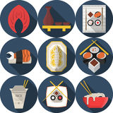 Flat round blue icons for asian food. Set of dark blue round flat color design icons for elements of asian seafood menu on white background with long shadows Royalty Free Stock Photos